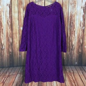 Jessica London SZ 14 Purple LongSleeve Lace Dress